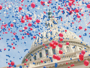 1793-1863, Washington, DC, USA --- Red, White, and Blue Balloons Over the U.S. Capitol Building --- Image by © Wally McNamee/CORBIS